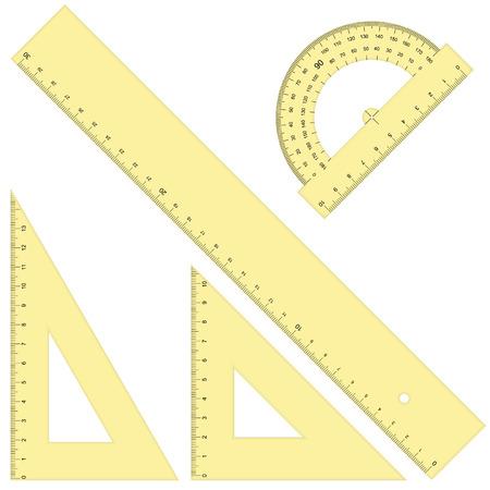 verzameling van vier liniaal en driehoekig gekleurde geel en geïsoleerd op een witte achtergrond