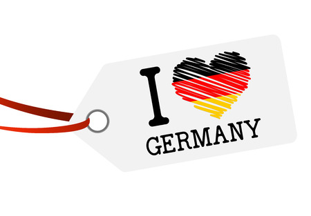 hang tag: white hang tag with red ribbon and text I LOVE GERMANY Illustration