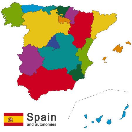 pays européen Espagne et autonomies dans les détails Vecteurs