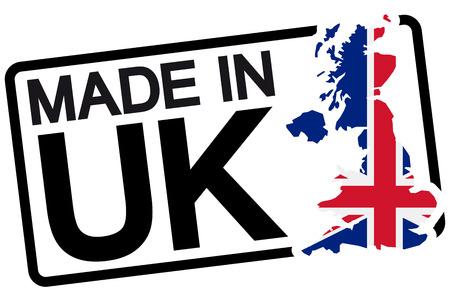 comercio: sello con marco de color negro y el texto hecho en Reino Unido Vectores