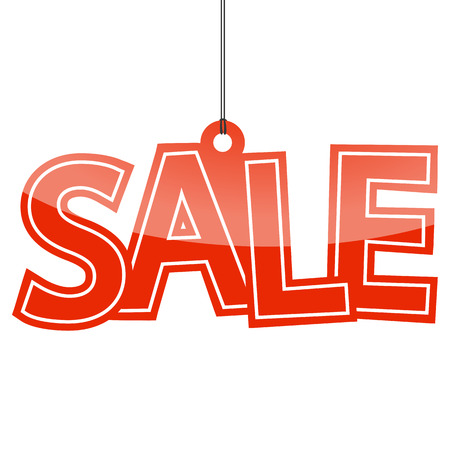 hangtag with red letters sale on white background Illustration