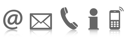 customer service: Contact Us � set of gray colored icons with reflection