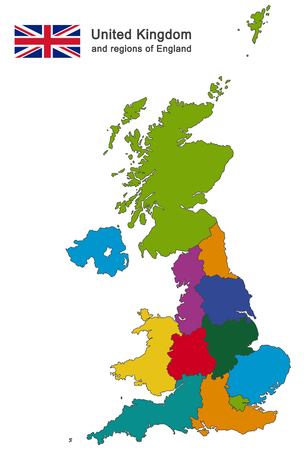 south west england: european country United Kingdom and regions of England Illustration