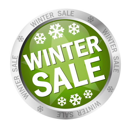 colored button with banner and text - Winter Sale Illustration