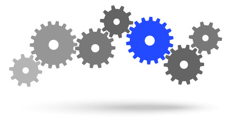 gray gears for cooperation or teamwork symbolism with blue leader Illustration