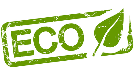 campaign promises: grunge stamp with frame colored green and text ECO
