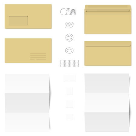 din: collection of brown and white standard size envelopes and different postage stamps