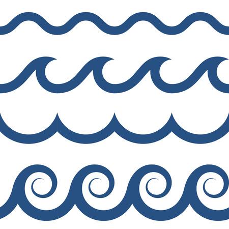 Blauw en wit gekleurd naadloos golven patroon Stock Illustratie
