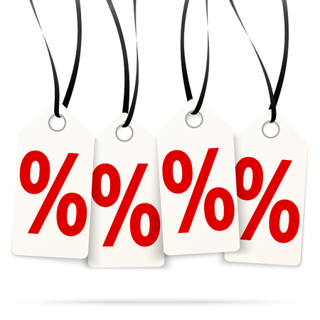 four white hang tags with % signs and black ribbons