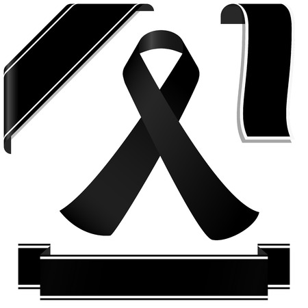 collection of black mourning ribbon and banners for sorrowful times Ilustração