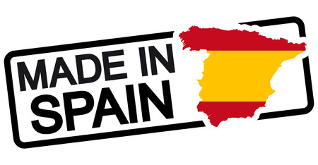 made in spain: stamp with frame colored black and text Made in Spain Illustration