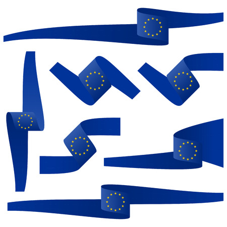 eu: collection of seven different banners with EU country colors Illustration