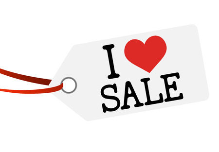 low price: white hang tag with red ribbon and text I LOVE SALE Illustration