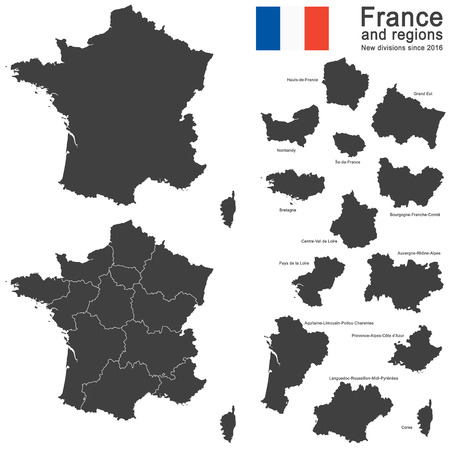 corsica: silhouettes of country France and new regions since 2016