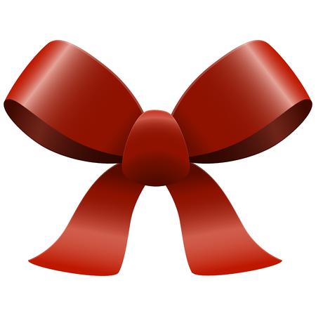 lazo regalo: Arco con cintas de colores rojo aislado sobre fondo blanco Vectores