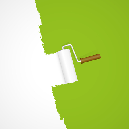 paint roller: repainting with paint roller color white on green background