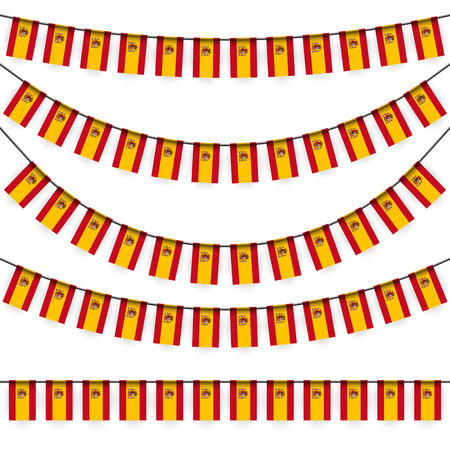 different garlands with national colors of spain flag