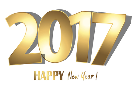 happy new year 2017 greetings with golden numbers and white background
