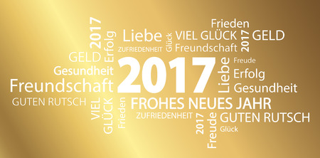 new year eve: word cloud with new year 2017 greetings and golden background (text in german)