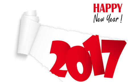 tore: ripped open white paper showing 2017 and text Happy New Year Illustration