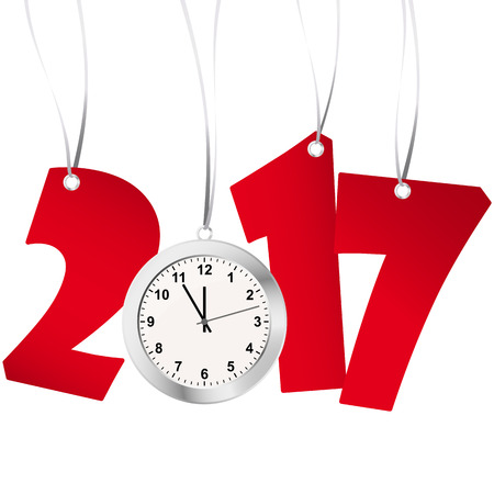 watch new year: red numbers showing New Year 2017 with silver clock