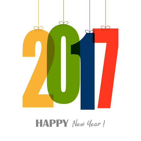 colored hangtags with numbers 2017 for New Year greetings