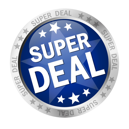 price hit: colored button with banner and text Super Deal