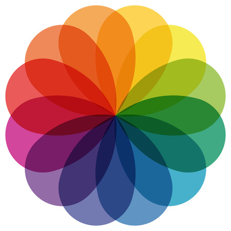 basic scheme: illustration of printing color wheel with different colors in gradations