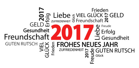time of the year: word cloud with new year 2017 greetings and white background (text in german)