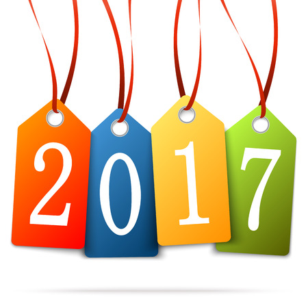 new beginnings: colored hang tags with numbers 2017 for New Year greetings