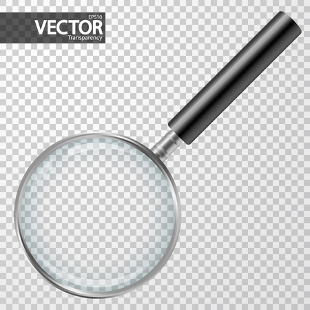 silver magnifier with checkered background showing transparency effect Vettoriali