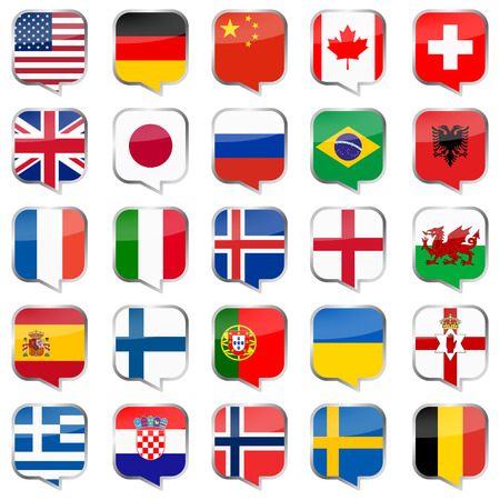 collection of speech bubbles with flags of different national countries