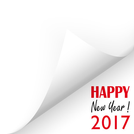 turn on: turned over white paper corner showing 2017 and text Happy New Year