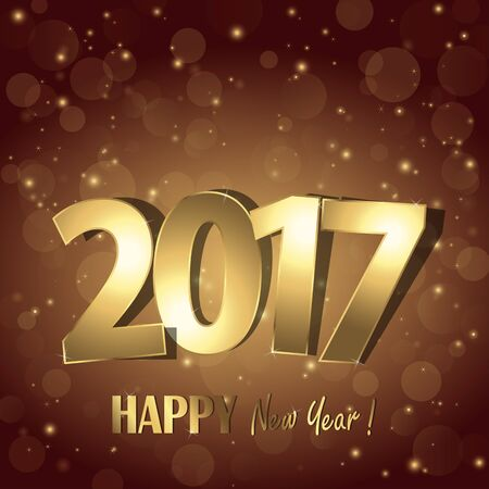 mirage: happy new year 2017 greetings with golden numbers and brown background