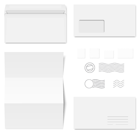 window case: collection of white standard size envelopes and different postage stamps