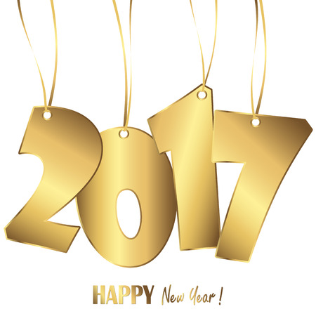 gold colored hang tag numbers for New Year 2017