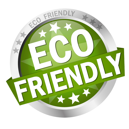 campaign promises: colored button with banner and text Eco friendly
