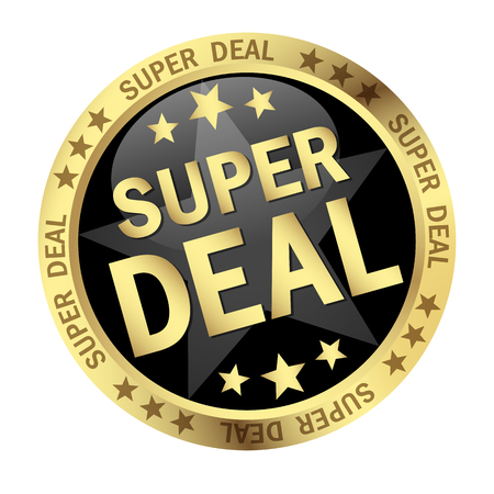 online purchase: colored button with banner and text Super Deal