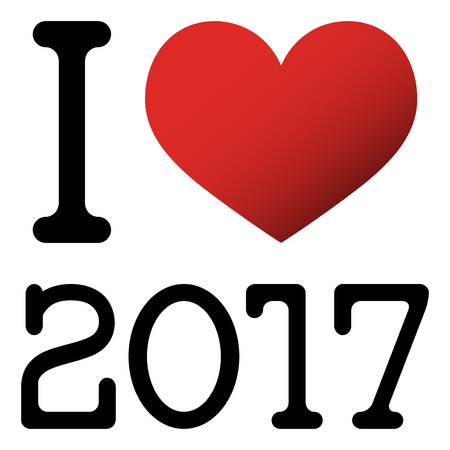 i hope: I love 2017 new year greetings with red heart