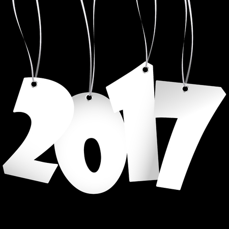 hang tag: white colored hang tag numbers for New Year 2017 Illustration