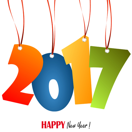 colored: colored hang tags with numbers 2017 for New Year greetings
