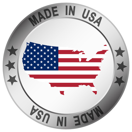 silver frame: round button with silver frame and text Made in USA Illustration