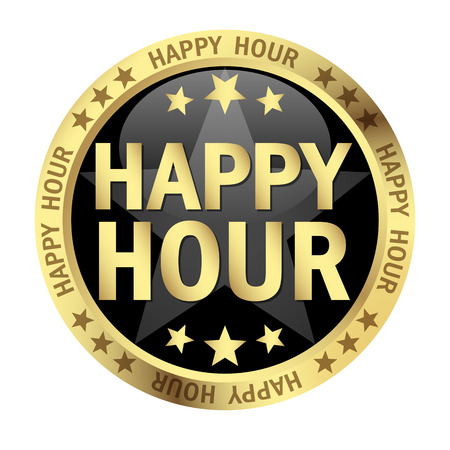 inexpensive: colored button with banner and text Happy Hour Illustration