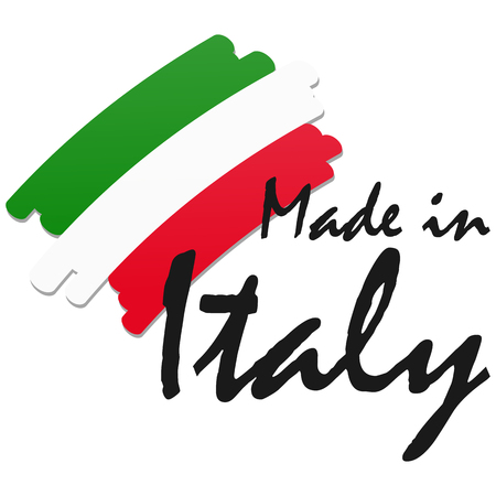banderole: seal of quality with country flag and text Made in Italy Illustration