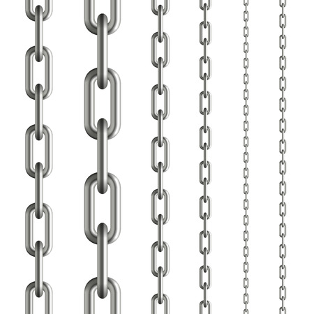 conclude: collection of seamless metal chains colored silver