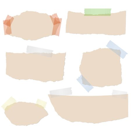 scraps: Collection of brown scraps of paper with colored tape