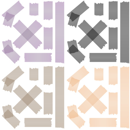 tore: collection of adhesive tapes in four different colors Illustration