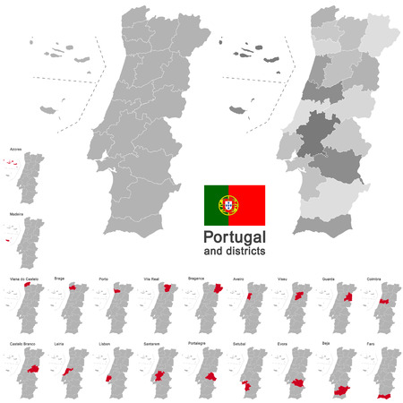 azores: european country Portugal and districts in details