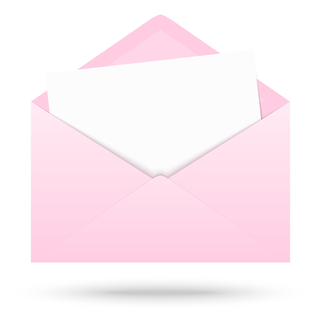 urgently: pink colored opened envelope with white empty paper