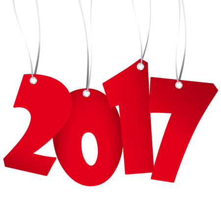 red numbers showing New Year 2017 with white background Illustration